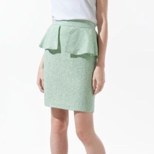 ZARA Pastel Green Peplum Skirt